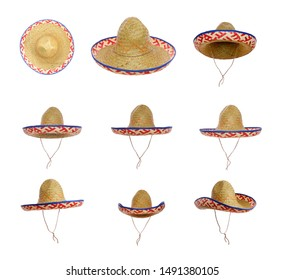 Straw Sombrero isolated on a white background, eleven views.