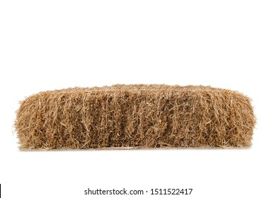 Straw stack brown on white background ,country style