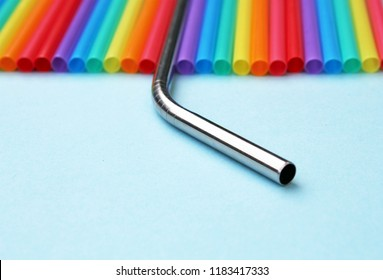 straw straws plastic free metal reusable plastic drinking background colourful  full screen
