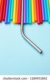 straw straws 'plastic free 'metal reusable plastic drinking background colourful  full screen plastic free, straw ban with copy space - stock photo photograph