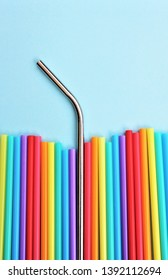 straw straws plastic free metal reusable plastic drinking background colourful  full screen plastic free ban stock photo, stock photography, stock photograph,