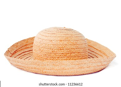 Straw summer hat isolated on white background