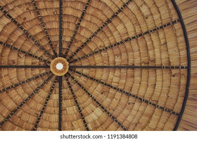 Straw thatched roof background with light bulb in Thailand