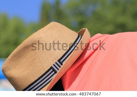 9c3d5445 Straw Trilby Hat On Sunny Pool Stock Photo (Edit Now) 483747067 ...