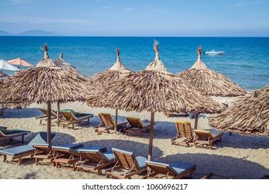 Straw umbrellas on a beach in Vietnam