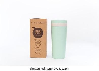 Straw wheat tumbler plastic free product isolated on white background