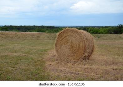 strawbale alone in field