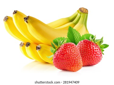 Strawberries and banana isolated on the white background