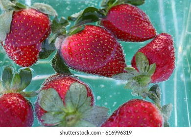strawberries in bubbles