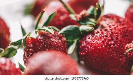 strawberries close up view -  strawberries Macro