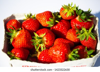 Strawberries in a cup, white background