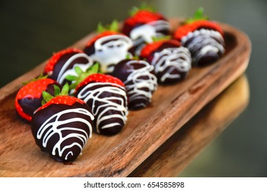 Strawberries dipped in chocolate.