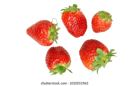 strawberries, Fragaria, isoleted on white