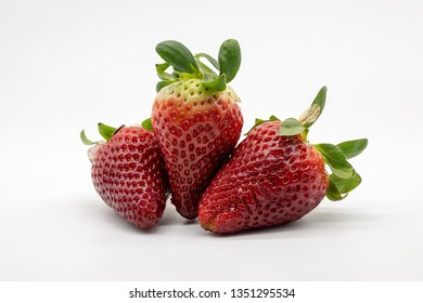strawberries, isolated on white background