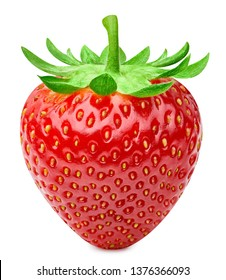 Strawberries isolated on white background. Ripe fresh strawberry Clipping Path. Professional studio macro shooting