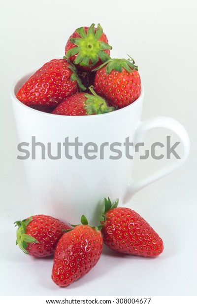 Strawberries isolated on white background (fruit)