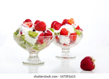 strawberries and kiwi with whipped cream