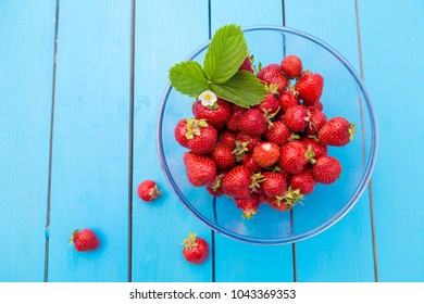 Strawberries with leaves and blossom in a glass bowl on a blue rustic wooden table.