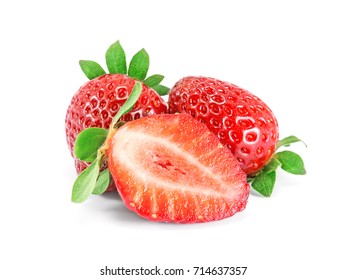 Strawberries with leaves on a white background.