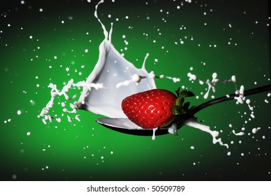 strawberries milk splash
