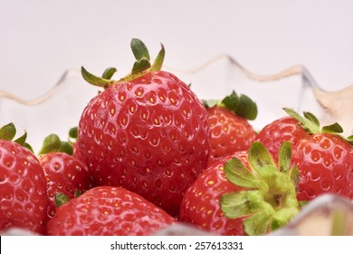 Strawberries on bowl in white background