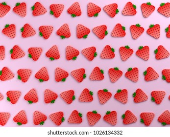 Strawberries on pink color background