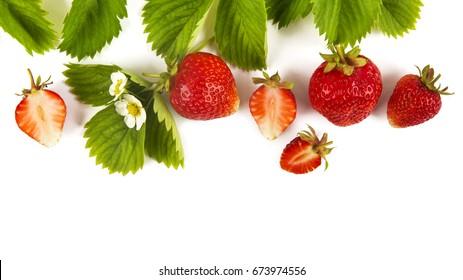 strawberries on white background - Shutterstock ID 673974556