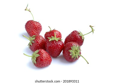 Strawberries on white isolated background.