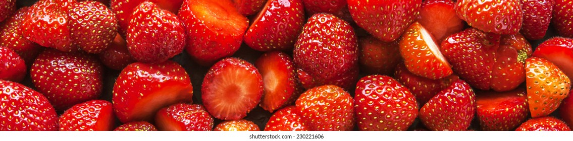 Strawberries panorama, long thin header / banner.