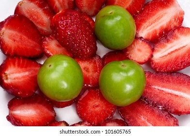 Strawberries and Plums on the Plate