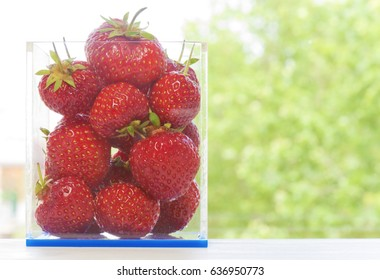 Strawberries in a square box with dof.