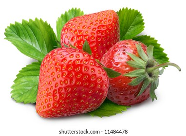 Strawberries with strawberry leaves isolated on a white background.