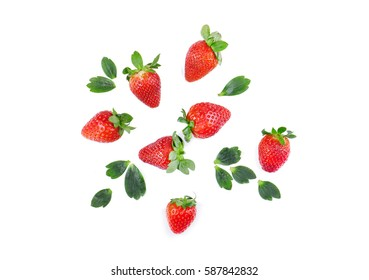 Strawberries top view.