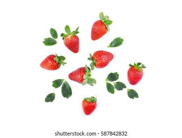 Strawberries top view.