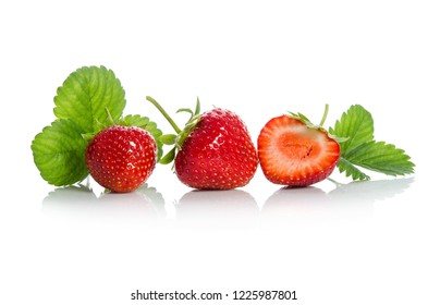 strawberries, two and one half isolated on white backgraund