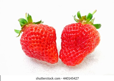 Strawberries with water drops