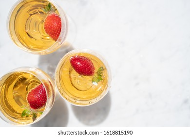 Strawberries in White Wine from Above with Copy Space