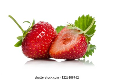 strawberries, whole one  another half,  isolated on white backgraund