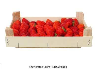 Strawberries in wooden box, isolated on white background