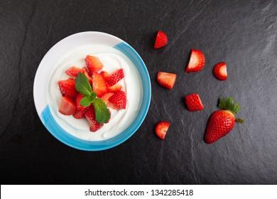 Strawberries with yogurt, Strawberry Skyr, Strawberries with cream cheese
