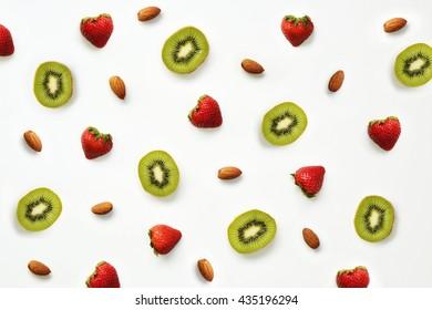 Strawberry, almond and kiwi pattern