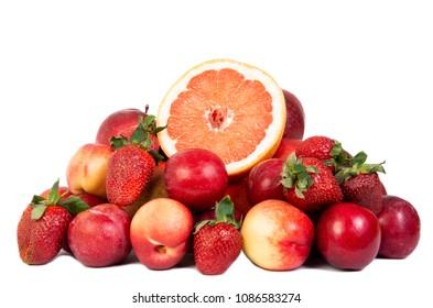 Strawberry apple grapefruit  fresh fruits