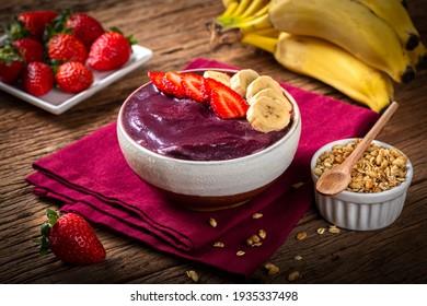 Açai with strawberry and banana. Brazilian acai. - Shutterstock ID 1935337498