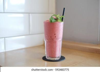 Strawberry banana smoothies.