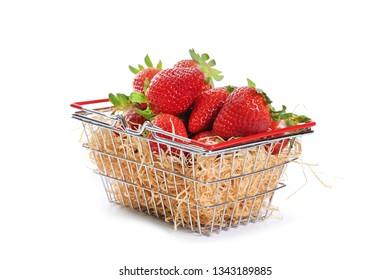 strawberry basket isolated on white background