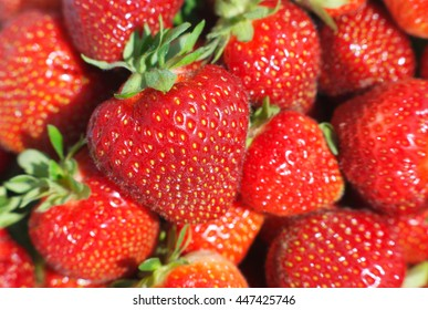 strawberry basket at the market close-up macro view