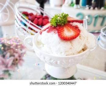 Strawberry bingsu dessert Korean food