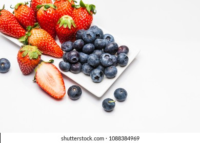 Strawberry and blueberries  isolated  on white background