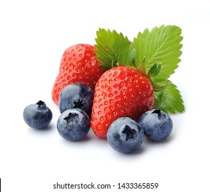 Strawberry and blueberry isolated on white backgrounds.