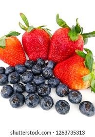 Strawberry and Blueberry isolated in white background